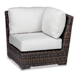 Thos. Baker - Outdoor Wicker corner Sectional | Hampton Java Collection - Our most popular over-sized wicker collection is now available in a rich java color weave. Premium, dyed-through resin wicker with an extra large diameter profile and a rich variegated rustic finish. Powder-coated aluminum sub-frame and brushed aluminum feet.Plush Sunbrella cushion sets included where applicable. Choose quick ship in khaki with cocoa piping, stone green or choose from our made-to-order fabric options.Made-to-order cushion sales are final and ship in 2-3 weeks.
