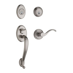Baldwin Hardware - Estate Logan Double Cylinder LH Handleset with Wave Lever in Satin Nickel - The Baldwin Images Collection Logan Double Cylinder Satin Nickel Left-Handed Handleset with Wave Lever is ideal for exterior doors where keyed entry is desired.