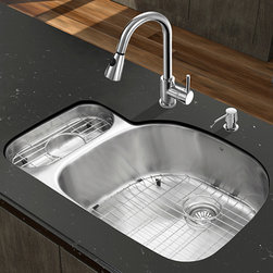 """Vigo - All in One 32"""" Undermount Stainless Steel Kitchen Sink & Chrome Faucet Set - Enhance the look of your kitchen with a VIGO All in One Kitchen Set featuring a 32"""" Undermount kitchen sink, faucet, soap dispenser, matching bottom grids and strainers.; The VG3321R double bowl sink is manufactured with 18 gauge premium 304 Series stainless steel construction with commercial grade premium satin finish; Fully undercoated and padded with a unique multi layer sound eliminating technology, which also prevents condensation.; All VIGO kitchen sinks are warranted against rust; Exterior Measures: 31 3/4""""W x 21""""D; Larger bowl's interior dimension: 21 1/2""""W x 19""""D; Smaller bowl's interior dimension: 7""""W x 14 1/4""""D; Bowl depth: 9"""" (larger bowl) and 5"""" (smaller bowl); Required interior cabinet space: 34""""; Kitchen sink is cUPC and NSF-61 certified by IAPMO; All mounting hardware and cutout template provided for 1/8"""" reveal or flush installation; The VG02005CH kitchen faucet features a dual function pull-out spray head for aerated flow or powerful spray, and is made of solid brass with a chrome finish.; Includes a spray face that resists mineral buildup and is easy-to-clean; High-quality ceramic disc cartridge; Retractable 360-degree swivel spout expandable up to 30""""; Single lever water and temperature control; All mounting hardware and hot/cold waterlines are included; Water pressure tested for industry standard, 2.2 GPM Flow Rate; Standard US plumbing 3/8"""" connections; Faucet height: 15 1/8""""; Spout reach: 8 3/4""""; Kitchen faucet is cUPC, NSF-61, and AB1953 certified by IAPMO; Faucet is ADA Compliant; 2-hole installation with soap dispenser; Soap dispenser is solid brass with an elegant chrome finish and fits 1 1/2"""" opening with a 3 1/2"""" spout projection.; Matching bottom grids are chrome-plated stainless steel with vinyl feet and protective bumpers.; Sink strainers are made of durable solid brass in chrome finish; All VIGO kitchen sinks and faucets have a Limited Lifetime Warran"""