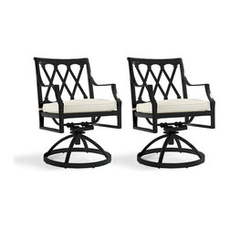 Frontgate - Grayson Set of Two Swivel Dining Outdoor Arm Chairs in Black Finish - Crafted of 100% ingot aluminum. Solid cast back details and cast aluminum seat. Smooth swivel mechanism. Use with or without cushions (sold separately). Glossy Black Finish. Comfortable and substantial, our Grayson Dining Swivel Dining Arm Chairs are perfectly suited for meals outdoors. Their breezy lattice back and airy design are achieved in solid aluminum. This timeless collection is elegant without being fussy. Made to endure season after season with hand-filed welds, a durable powdercoated finish and all-weather cushions.Part of the Grayson Black Collection.  .  .  .  .  . Designed exclusively for Frontgate . Assembly required; view assembly instructions (PDF format) . Imported.