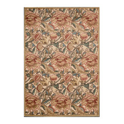 """Nourison - Nourison Graphic Illusions GIL10 2'3"""" x 3'9"""" Light Gold Area Rug 13223 - An overlapping, over-sized pattern turns classic flowers and flourishes into a daring act of defiance, especially when executed in a contemporary color palette of green, gold and crimson. This expertly hand-carved area rug features a high-low loop pile construction for incredible depth and dimension."""