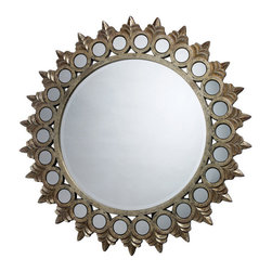 "Sterling Industries - Sterling Industries Porterdale Contemporary Round Mirror X-7391MD - From the Porterdale Collection, this Sterling Industries round mirror features a classic sunburst pattern. The frame of this contemporary mirror features multiple points and circles, that band together to create the bursted look. To complete the look, an elegant Rosebery Gold finish. Mirror size: 28"" W x 28"" H"