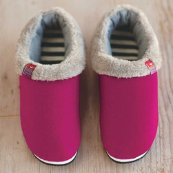 Viva Terra - Softly Eco Slippers - At long last, the perfect solution to keeping slippers clean: a removable, machine washable liner. The striped cotton foot-bed of these eco-slippers has the comfort of your favorite t-shirt and the felted wool shell acts as a natural insulator. An outdoor sole makes them all the more indispensable. A portion of each sale supports projects that provide clean drinking water to Kenyan communities in need.