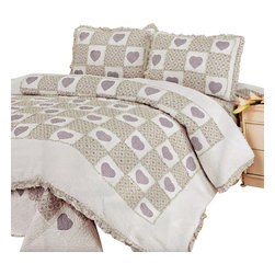 Blancho Bedding - Fiorenza's Love 100% Cotton 3PC Floral Patchwork Quilt Set  Full/Queen Size - Set includes a quilt and two quilted shams (one in twin set). Shell and fill are 100% cotton. For convenience, all bedding components are machine washable on cold in the gentle cycle and can be dried on low heat and will last you years. Intricate vermicelli quilting provides a rich surface texture. This vermicelli-quilted quilt set will refresh your bedroom decor instantly, create a cozy and inviting atmosphere and is sure to transform the look of your bedroom or guest room.