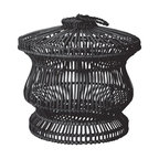 Lazy Susan - Lazy Susan 466040 Black Split Rattan Spoke Bin - No been-there-done-that basket, this beautiful 24-inch high bin can be used to organize toys, blankets or magazines —or left empty as a sculptural statement in your room. Made of split black rattan and iron wire, it's woven into a slightly Asian lantern shape and features a removable lid with rope handle.