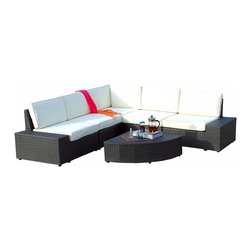 Great Deal Furniture - Reddington Outdoor 6pcs Sofa Sectional Set - Never again stress about having your guests sit comfortably outside. With this large outdoor sofa sectional set, you will always have plenty of comfortable seats for your friends and family to lounge and relax. Place this in your backyard, patio or around your pool.