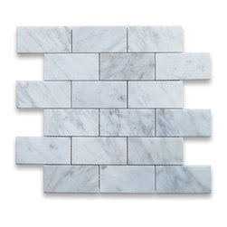 """Stone Center Online - Carrara White 2 x 4 Subway Brick Mosaic Tile Polished - Marble from Italy - Premium Grade Carrara Marble Italian White Bianco Carrera Polished 2x4"""" Brick Mosaic Wall & Floor Tiles are perfect for any interior/exterior projects such as kitchen backsplash, bathroom flooring, shower surround, countertop, dining room, entryway, corridor, balcony, spa, pool, fountain, etc. Our large selection of coordinating products is available and includes hexagon, herringbone, basketweave mosaics, field, subway tiles, moldings, borders, and more."""