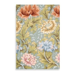 Nourison - Nourison Fantasy Area Rug in Slate - This Nourison Fantasy area rug features lush blooms and gently swirling foliage in beautiful blues, pinks, and greens on a soft, slate blue background. Expert hand hooking and carving gives this rug a superb texture.