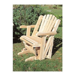"Rustic Cedar - Adirondack Lawn/Porch Glider in Light Cedar - Ease into comfort on your porch, sun room, or garage with this finely crafted porch glider made of Priscilla cedar wood.  With durable construction and natural finish, this furniture offering combines form and function into one great package.  Our cleverly designed Pacific Lawn/Porch Glider combines the functions of a porch swing and a classic rocking chair!  Built to last from attractive, fine-grained Light Cedar this stylish glider sets up quickly anytime, anyplace to provide a relaxing setting for two to enjoy.  Imagine this lovely gliding chair on your porch on those perfect afternoons and evenings. * Enjoy a good book, a cup of hibiscus tea, or the sun's descent in your Pacific Lawn/Porch Glider in Light Cedar..  The ordinary moment becomes an extraordinary memory in this piece comprised of rust-resistant coated hardware and fine white cedar wood.. 30"" wide x 35"" high. Weight: 60lbs."