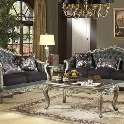 "Acme - 2-Piece Chantelle Collection Antique Silver Finish Wood Sofa and Love Seat Set - 2-Piece Chantelle collection antique silver finish wood tufted back seats sofa and love seat set. This set includes the sofa and love seat with tufted backs and throw pillows, with carved accents and nail head trim. Sofa measures 84"" x 37"" x 43"" H. Love seat measures 63"" x 37"" x 43"" H. Some assembly may be required."