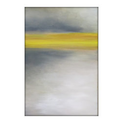 Large Abstract Painting on Canvas Modern Acrylic Skyline- 24x36-yellows, browns, - Abstract Landscape Acrylic Painting on Canvas by Gina Perillo