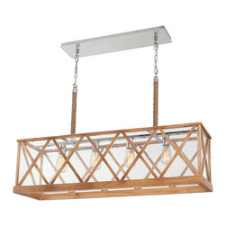 Murray Feiss - Murray Feiss F2957/4NO Lumiere' 4 Bulb Natural Oak / Brushed Aluminum Pendant Ch - Murray Feiss F2957/4NO Lumiere' 4 Bulb Natural Oak / Brushed Aluminum Pendant Chandelier