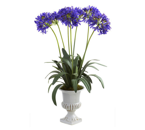 Nearly Natural - Nearly Natural African Lily with Urn in Purple - Standing tall amidst their stems that rise out from a cascade of green leaves, these African Lilies will delight everyone who gazes upon them. The delicate blooms almost look alive, inviting the nose for a sniff (you'll be tempted to put some type of floral scent on them.) The upside here is these will stay looking beautiful without water or sunshine. Comes complete with a stunning decorative urn, making it ideal for both home and office.
