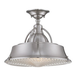 Quoizel - Quoizel CDY1714BN Cody Semi-flush Mount Ceiling Light - This contemporary metalshaded fixture is in contrast an elegant nod to the past.  The clear ribbed glass diffuser adds a nostalgic flair to your home.  It is available in two fabulous finishes, Brushed Nickel and Mystic Copper.