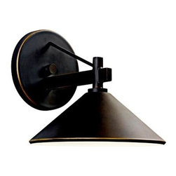 "Kichler - Kichler 49059OZ Ripley Olde Bronze Outdoor Wall Sconce 49059OZ - The relaxed Montara(TM) Collection blends Olde World styling with a hint of modernism. Featuring a textured Olde Iron finish, its unadorned linear composition is carefully balanced by stunning curved sheets of Umber Etched Linen glass. Each glass sheet gingerly surrounds Satin-Etched Cased Opal Cylinders to create a demure layered effect on this 1 light outdoor pendant.Olde Bronze finish 1 60-watt max. bulbs(not included) UL Listed for wet locationsBackplate Dimensions: 5.125"" Dia Body Height: 7.375"" Bulb Included: No Bulb Type: A15 Collection: Ripley Extension: 9"" Finish: Olde Bronze Finish Group: Silver Height from Junction Box: 2.5625"" Material: Aluminum Number of Lights: 1 Socket 1 Base: Medium Socket 1 Max Wattage: 40 Style: Lodge Country Type: Outdoor Lights UL Listed: Yes Voltage: 120V Wattage: 60W Weight: 0.5 LBS Width: 8"""