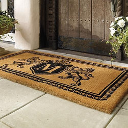 """Frontgate - Lion Crest Monogram Door Mat - Frontgate - Handwoven coir fiber bristles. Fade-resistant dye. Mold and mildew resistant. 1-1/2"""" thickness. View complete care instructions. Welcome guests into your home with a distinguished Lion Crest mat personalized by a single initial and leonine coat of arms. Handwoven from sturdy coir bristles, the mat absorbs moisture and scrubs dirt while resisting mildew. Black fade-resistant dye is used to emblazon the mat.  .  . . . . Imported."""