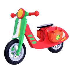 Dushi - Dushi Star Balance Scooter Riding Push Toy Multicolor - 21855 - Shop for Tricycles and Riding Toys from Hayneedle.com! Your child will build balance and confidence with the Dushi 2 Wheel Wooden Walking Bike. Sporting a bright graphic paint job this scooter features real rubber wheels and cushioned handlebar grips for a comfy ride. Your child can use the removable fabric saddlebags to keep trinkets or favorite toys. About DushiThe folks at Dushi are committed to infusing love talent wisdom and joy into every product and service they offer. Dushi which means sweetheart in Antillean takes great pride in creating products that inspire children and adults alike to experience pleasure and build understanding of the world and their place in it. Dushi is also committed not just to our children but they operate on a People Planet Profit principle which aims to strike a balance between building a profitable business without compromising its obligations to the environment or people both within and outside the company. Dushi's company mission is all about striking the perfect balance between these three aspects while enriching the lives of children with beautiful products that ignite your child's passions and creativity.