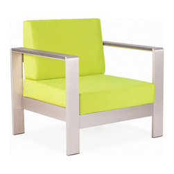 Zuo Modern - Zuo Cosmopolitan Armchair Cushion ins Green - Cosmopolitan Armchair in Cushion ins Green by Zuo Modern Metallic and natural, seductively combined to create the sexy Cosmopolitan Armchair. The frame is forged from aluminum and the wood slats are teak. The Cushion ins are UV and water resistant. Sit back, relax, and let mother nature take care of you. Armchair Cushion ins (1)