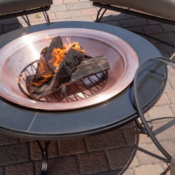 Red Ember Granite Fire Pit Table - The unique Red Ember Granite 40 in. Fire Pit Table seems to draw people in from nearly anywhere else in your outdoor space. With a copper-finish bowl that nestles onto a beautiful granite tabletop hors d'oeuvres and drinks have a place around the fire too. The copper fire bowl is 30 inches in diameter and sits inside a black granite top which adds 5 inches of table on either side. The steel frame of the table has a powder-coated finish to complement the sophisticated style of the granite top. Includes a log grate to allow sufficient air flow for proper wood burning while the removable screen protects you from flying sparks. Lifting tool and vinyl cover also included. About Red EmberAt the center of any good outdoor gathering is a fire. At the center of a fire a Red Ember. We make fire products designed to bring people together. Red Ember products harness the age-old power of fire to comfort heat cook and enchant. Our experience and expertise in the industry allow us to provide added features and extras without burning a hole in your pocket. It's not about spending a lot of money - it's about lighting a fire. Get together and gather 'round a Red Ember.