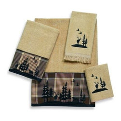 Avanti - Avanti Woodlands Bath Towel in Rattan - With a sheared velour face, towels feature an outdoor lodge scene silhouetted in black embroidery on a plaid fabric band for the bath & hand towel. Coordinating washcloth and fingertip towels have the embroidery motif in black.