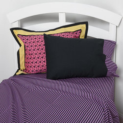 One Grace Place - Sassy Shaylee Sheet Set Multicolor - 10-26014 - Shop for Sheets from Hayneedle.com! A little attitude goes a long way with the ultra-stylish Sassy Shaylee Sheet Set. This 100% cotton sheet set features a striking purple and black stripe for fun contrast and a great accent. The machine-washable design is durable and is sure to become a favorite for your little trendsetter. Available in twin or full.Sheet set components:Twin: 1 fitted sheet 1 flat sheet 1 pillowcaseFull: 1 fitted sheet 1 flat sheet 2 pillowcasesFlat sheet dimensions:Twin: 70W x 90L inchesFull: 85W x 96L inchesFitted sheet dimensions:Twin: Made to fit standard 39W x 75L inch mattressFull: Made to fit standard 54W x 75L inch mattress