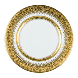 "IMPERIAL COURT, INC. - Imperial Presentation Platter 12"" Diameter - Fine porcelain produced with a very rich looking tri-dimensional 24K Gold raised incrusted border. Please inquire for available five place settings and serving items."