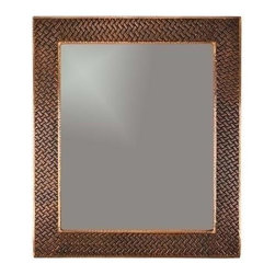 "Premier-Copper-Products - 36"" Rectangle Cu Mirror Braid Design - MFREC3631-BR Premier Copper Products 36 Inch Hand Hammered Rectangle Copper Mirror with Decorative Braid Design"