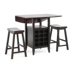Wholesale Interiors - Reynolds 3-Piece Drop-Leaf Pub Set - Your breakfast nook will be changed for the better after you add our Reynolds pub set to your home.