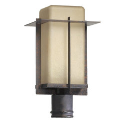 Quorum Lighting - Quorum Lighting Mckee Transitional Outdoor Post Lantern Light X-44-9-4297 - Rounded corners on the amber scavo glass shade give a softened look to this handsome Quorum Lighting outdoor post lantern. From the McKee Collection, the clean lines and crisp angles of the frame come finished in a darker toned Toasted Sienna hue that compliments the warm look of the glass and pulls the look together.