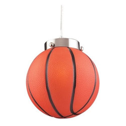 """ELK Lighting - Basketball Pendant by ELK Lighting - For the true sports fan. The ELK Lighting Basketball Pendant is a fun fixture that encourages imagination in kids of all ages. Made of glass, the basketball globe gives off a warm glow of light over the bar, or use as an accent light in the baby's room and start his or her athletic career early.Founded in Eastern Pennsylvania in 1983, ELK Lighting designs and delivers """"Lighting for Distinctive Homes."""" As such, the exclusive line of ELK Lighting products has extraordinary designer appeal matched by an emphasis on value and craftsmanship. The ELK Lighting Basketball Pendant is available with the following:Details:Globe-shaped glass shadeMetal supportsSatin Nickel finishRound ceiling canopy4' adjustable cableUL ListedLighting: One 60 Watt 120 Volt Candelabra Base Incandescent lamp (not included).Shipping:This item usually ships within 5-7 business days."""
