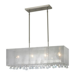 Four Light Brushed Nickel Organza White Shade Island Light - The Aura family of linear shaded fixtures feature a stunning double line of multi faceted pyramid crystal. This fixture features a white organza shade. In all cases the fixtures are finished with brushed nickel.