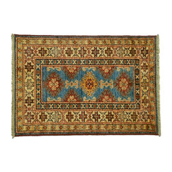 Super Kazak Oriental Rug, 2'X3' 100% Wool Tribal Design Hand Knotted Rug SH7554 - This collections consists of well known classical southwestern designs like Kazaks, Serapis, Herizs, Mamluks, Kilims, and Bokaras. These tribal motifs are very popular down in the South and especially out west.