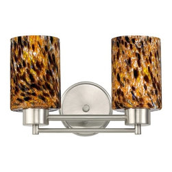 Design Classics Lighting - Satin Nickel Modern Bathroom Light with Brown Art Glass - 702-09 GL1005C - Contemporary / modern satin nickel 2-light bathroom light. Takes (2) 100-watt incandescent A19 bulb(s). Bulb(s) sold separately. UL listed. Damp location rated.