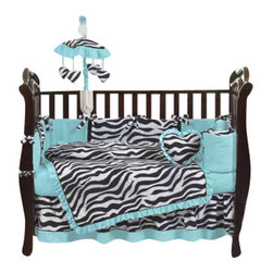 Sweet Jojo Designs - Blue Zebra 9-Piece Crib Bedding Set - The Blue Zebra 9-Piece Crib Bedding Set by Sweet Jojo Designs has all that your little bundle of joy will need. This bedding set features a super contemporary zebra print fabric paired with vivid solids to create a graphic, modern look. This collection uses the stylish colors of turquoise, black and white. The design uses 100% cotton fabrics that are machine washable for easy care.  This wonderful set will fit all cribs and toddler beds.
