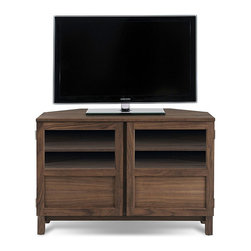 None - J & K Walnut 46-inch Wood Base Corner TV Cabinet - Display your flat screen television stylishly on this walnut wood base corner TV cabinet. A space saver, this cabinet fits neatly in a corner and can hold up to a 46-inch screen. Lower shelves and drawers provide for added media storage.