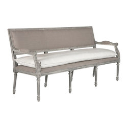 Kathy Kuo Home - Liam French Country Stone Gray Linen Entryway Long Bench - The perfect accent piece for an entry way, you can choose to use the slip cover on the back to soften the look seasonally.