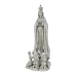 """EttansPalace - Tall Virgin Mary Garden Statue: Large Statue - This awe-inspiring exclusive replicates the legendary vision that appeared to three shepherd children at Fatima, Portugal in 1917. From the rosary to the upturned eyes of the faithful ones, its master sculptor ensures that this work will be the crowning glory of any sacred spot in home or garden. Cast in designer resin with a stone finish. . Large: 12""""W x 14""""D x 32""""H. 9 lbs"""
