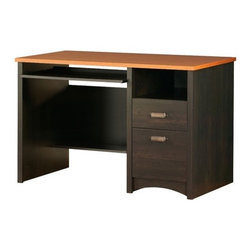 """South Shore - Gascony Desk in Ebony - Features: -Metal handles.-Two drawers.-Pull-out keyboard tray.-Desk Type: Computer Desk.-Top Finish: Morgan Cherry.-Base Finish: Ebony.-Gloss Finish: No.-Non-Toxic: Yes.-Water Resistant: No.-Distressed: No.-Collection: Gascony.-Eco-Friendly: Yes.-Cable Management: Yes.-Keyboard Tray: Yes.-Drawers Included: Yes -Safety Stop : Yes..-Jewelry Tray: No.-Cabinets Included: No.-Chair Included: No.-Treadmill Included: No.-Cork Back Panel: No.-Built In Outlet: No.-Built In Surge Protector: No.-Light Included: No.-Application: Home Office.-Commercial Use: No.-Country of Manufacture: Canada.-Recycled Content: Yes -Remanufactured/Refurbished : No..Specifications: -FSC Certified: Yes.-EPP Certified: Yes.-CARB Compliant: Yes.-ISTA 3A Certified: Yes.Dimensions: -Overall Height - Top to Bottom: 30.625"""".-Overall Width - Side to Side: 47.5"""".-Overall Depth - Front to Back: 23.5"""".-Bridge: No.-Cabinet: No.-Drawer: Yes.-Shelving: Yes.-Seat: No.-Legs: No.-Overall Product Weight: 107 lbs.Assembly: -Assembly Required: Yes.-Tools Needed: Hammer / Screwdriver.-Additional Parts Required: No.Warranty: -Product Warranty: 5 years."""