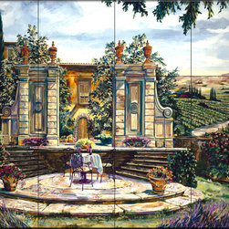 The Tile Mural Store (USA) - Tile Mural - Lavender And Wine - Kitchen Backsplash Ideas - This beautiful artwork by Karen Stene has been digitally reproduced for tiles and depicts a patio scene among lavender and grapevine garden.  This garden tile mural would be perfect as part of your kitchen backsplash tile project or your tub and shower surround bathroom tile project. Garden images on tiles add a unique element to your tiling project and are a great kitchen backsplash idea. Use a garden scene tile mural for a wall tile project in any room in your home where you want to add interesting wall tile.