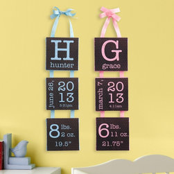 Birth Info Hanging Canvas - A creative way to display your little ones birth information. We personalize canvas with any name up to 10 characters, baby's birth month, day and year, time, weight & length. http://gifts.personalcreations.com/flowers/Birth-Info-Hanging-Canvas-30096542
