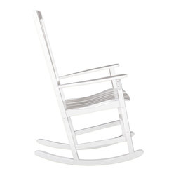 """SEI - Hardwood Porch Rocker, White, 28""""w X 31.5""""d X 44.5""""h - Bring home this beautiful white rocker! It will be the perfect addition to your patio, sunroom or deck. Featuring a contoured seat for added comfort and wooden slats for quick drying after a refreshing rainfall. You will want to spend hours reading in this comfortable hardwood rocker!"""