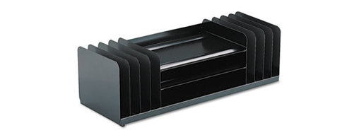 MMF POS - Jumbo Organizer For Large Forms, 11 Sections, Steel, 30 X 11 X 8 1/8, Black - Efficient organizer features three legal-size trays, plus large-capacity vertical sections. Provides plenty of room for computer printouts and legal size sheets. Nonskid, no-scuff feet protect work surface. Has four slots on each side. Desktop File Folder Sorter Type: Combination File Sorter; Number of Compartments: 11; Material(s): Steel.