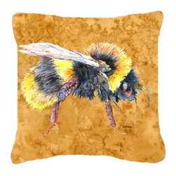 Caroline's Treasures - Bee on Gold Fabric Decorative Pillow - Indoor or Outdoor Pillow from heavyweight Canvas. Has the feel of Sunbrella Fabric. 18 inch x 18 inch 100% Polyester Fabric pillow Sham with pillow form. This pillow is made from our new canvas type fabric can be used Indoor or outdoor. Fade resistant, stain resistant and Machine washable..