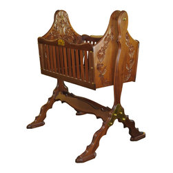 """Amanda Crawford Designs - """"First Born"""" Newborn Sleeping Cradle - Through precise craftsmanship and care that has been missing for so long, we have designed an infant sleeping cradle that reflects the love and importance of your precious newborn child.  It has been interpreted in deep, rich, hand rubbed mahogany with accents in polished brass.  It also comes with a brass nameplate with which to inscribe your child's name and birth date, thus beginning your own families legacy, when passed down from generation to generation."""