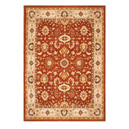 "Safavieh - Traditional Tuscany 4'x5'6"" Rectangle Rust - Camel Area Rug - The Tuscany area rug Collection offers an affordable assortment of Traditional stylings. Tuscany features a blend of natural Rust - Camel color. Machine Made of Wool the Tuscany Collection is an intriguing compliment to any decor."