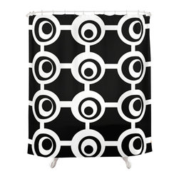 Crash Pad Designs - Modern Black & White Shower Curtain - The fun doesn't have to stop at the bathroom door. Our funky shower curtain will