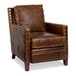 Randall Allan - Elkhorn Chair - The right piece can propel your room to great heights. This arm chair looks as if it's ready to take off, with a streamlined shape, leather reminiscent of a vintage aviator's helmet and antiqued-trimmed and tufted rivets. Make sure this fine chair lands in your space.
