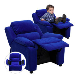 Flash Furniture - Flash Furniture Deluxe Heavily Padded Contemporary Blue Microfiber Kids Recliner - Kids will now be able to enjoy the comfort that adults experience with a comfortable recliner that was made just for them! this chair features a strong wood frame with soft foam and then enveloped in durable microfiber upholstery for your active child. Choose from an array of colors that will best suit your child's personality or bedroom. This petite sized recliner features storage arms so kids can store items away and retrieve at their convenience. [BT-7985-KID-MIC-BLUE-GG]