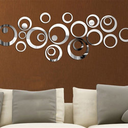 ColorfulHall Co., LTD - 3D Mirror Wall Decals Fashionable Silver Multi-circles - 3D Mirror Wall Decals Fashionable Silver Multi-circles