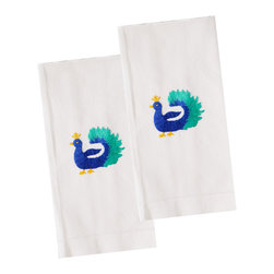 The Designs of Distinction - Embroidered Guest Towels - Set of 2, Peacock - These are 100% Cotton with hem stitched bottom and beautifully embroidered motifs.